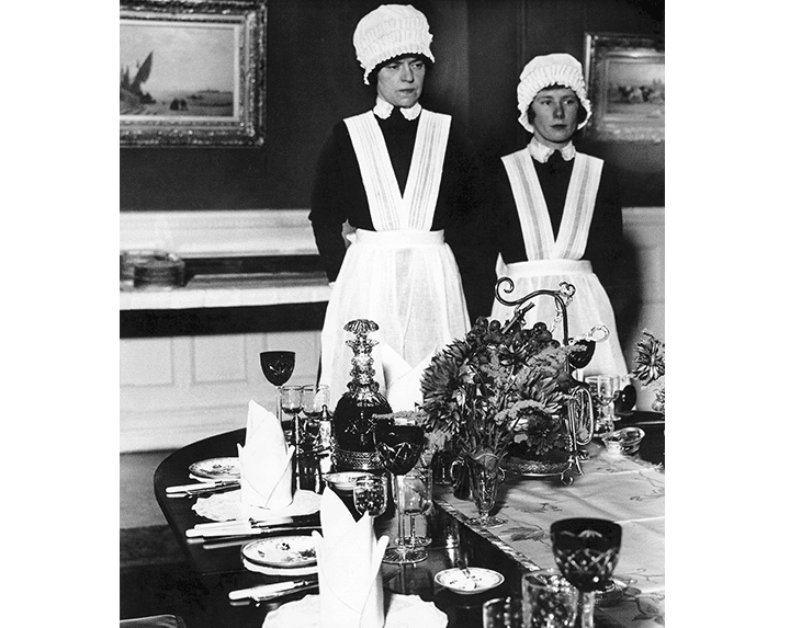 Bill Brandt Parlourmaid and Under-parlourmaid ready to serve dinner, 1936